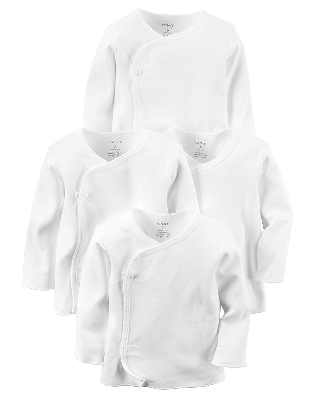 Carter's Unisex 4 Pack Long Sleeve Side Snap Mitten Cuff Shirt 3362-nbhd-$P