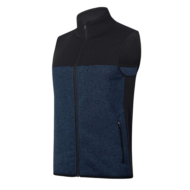 beroy Vest Jacket for Men Full Zip Soft Sweater Fleece Vest Sleeveless Jacket with 2 Zipper Pockets(Navy,S) by beroy
