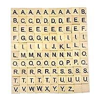 Generic Lettres en Bois de Scrabble-Puzzle Alphabets A à Z, 100 Wood, Noir