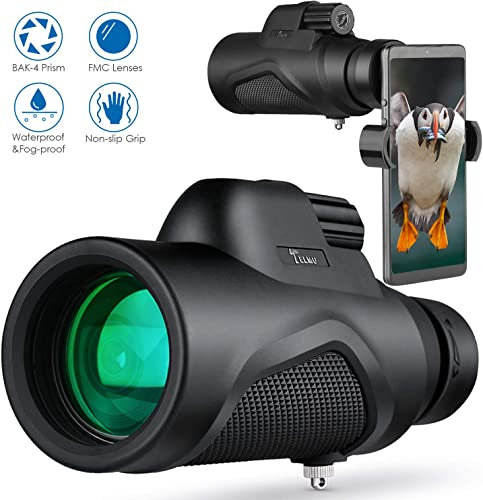 TELMU Monocular Telescope High Power 12X50 for Bird Watching Hunting Hiking Concerts Viewing, with BAK 4 Prism and FMC Objective Lens, Comes with Smartphone Holder and Objective Cap