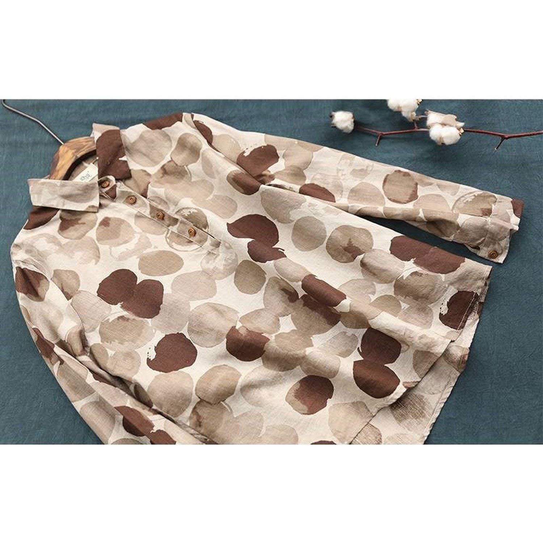 Plus Size Long Sleeve Cotton Linen Button Casual Shirts Vintage Polka Dot Print Vintage Blouses P11