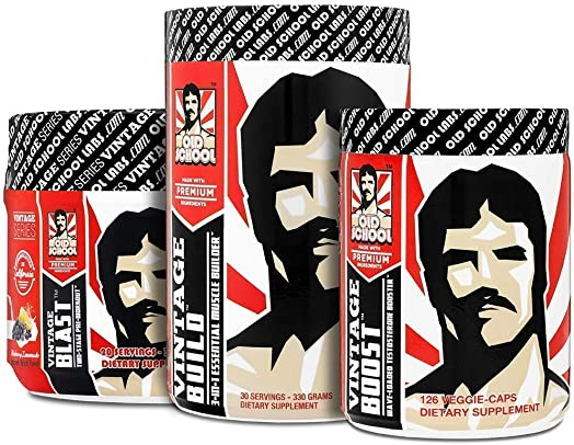 The Size and Strength Stack – Vintage Blast Two-Stage Pre-Workout , Vintage Build 3-in-1 Muscle Building Recovery Powder , Vintage Boost Natural Stamina Testosterone Booster