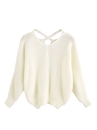 ROMWE Women's Criss Cross Crew Neck Solid Long Sleeve Knit ...