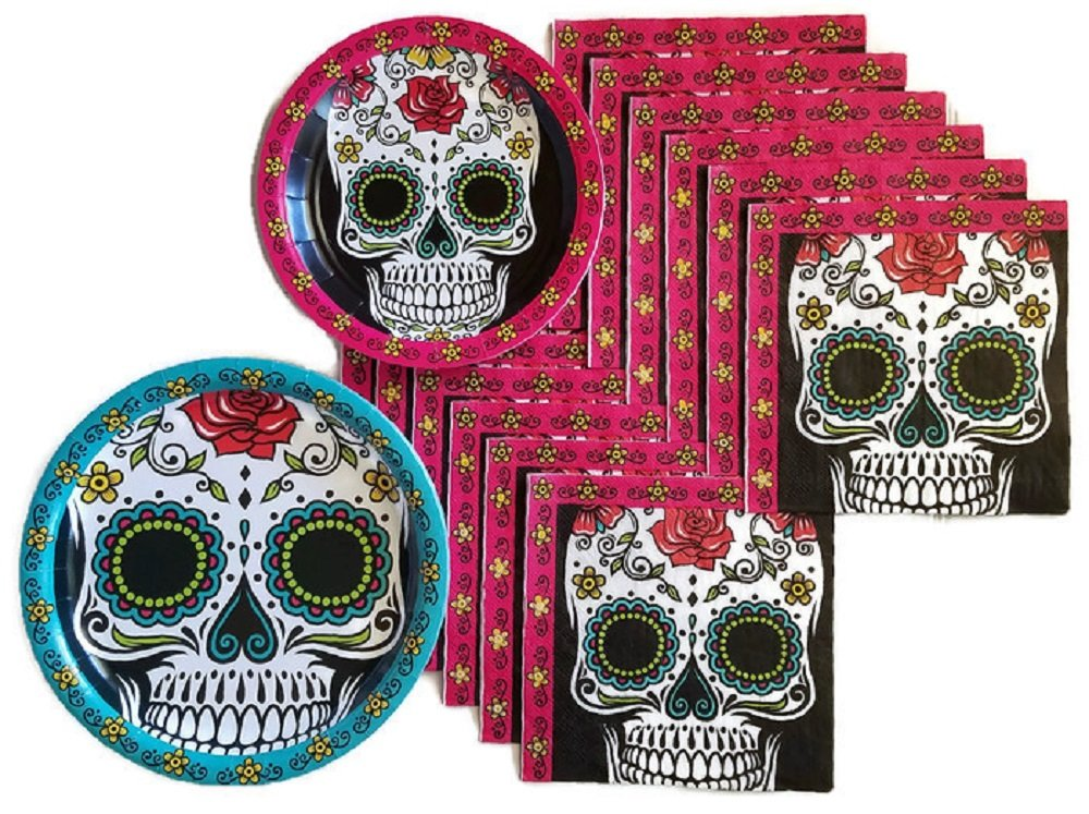 Day of the Dead Dia De Los Muertos Sugar Skull Party Supplies Paper Plate and Napkin Bundle of 3 - Service for 32 by Party Creations