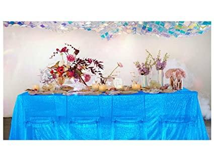 Amazon Com Shinybeauty Turquoise Tablecloths 90x132 Inch Sequin
