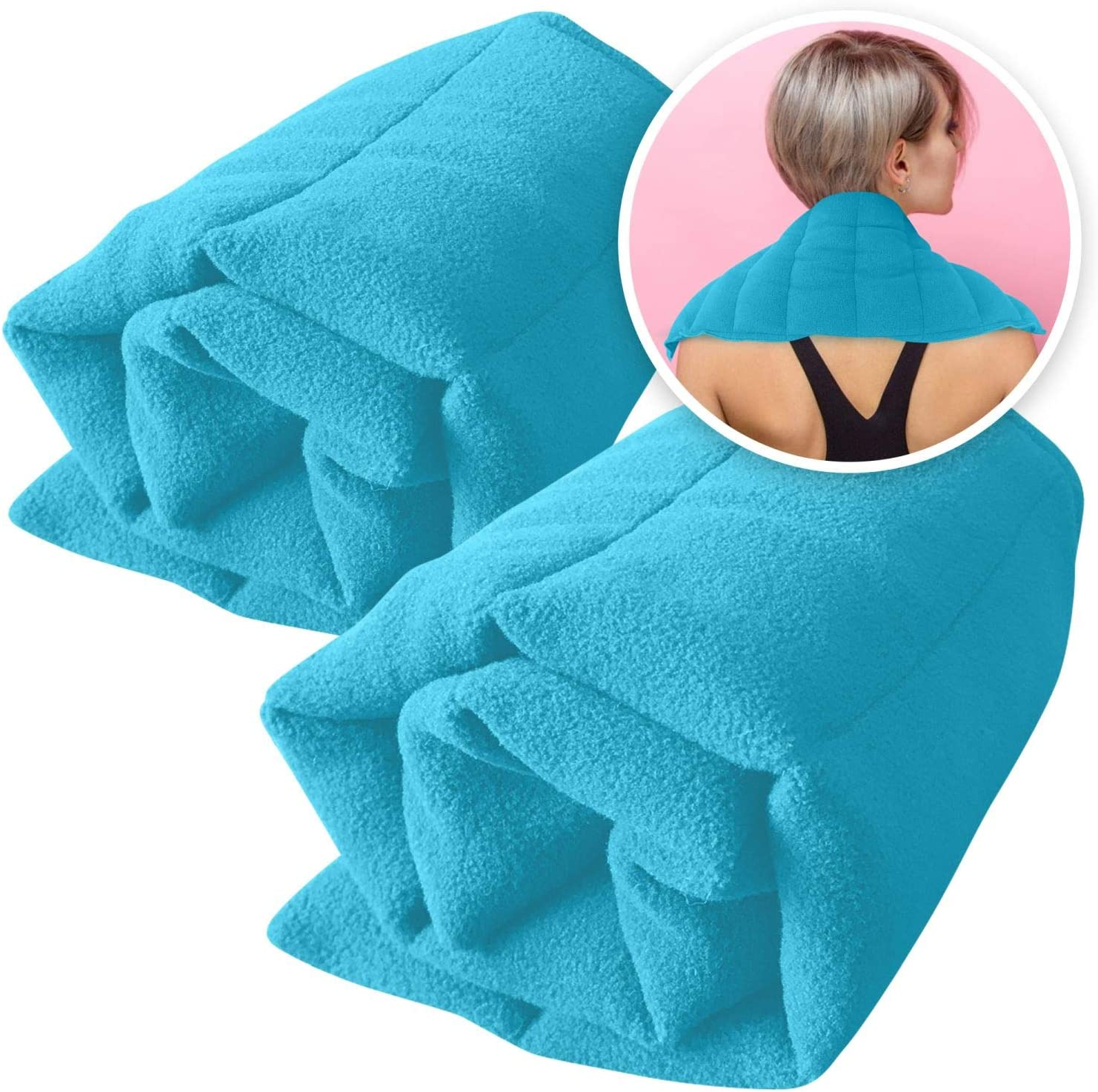 Microwavable Heating Pads Set of 2 Natural Moist Heat Pad for Back Pain, Neck and Shoulders, Nerve, Cramps, Lower Lumbar Relief