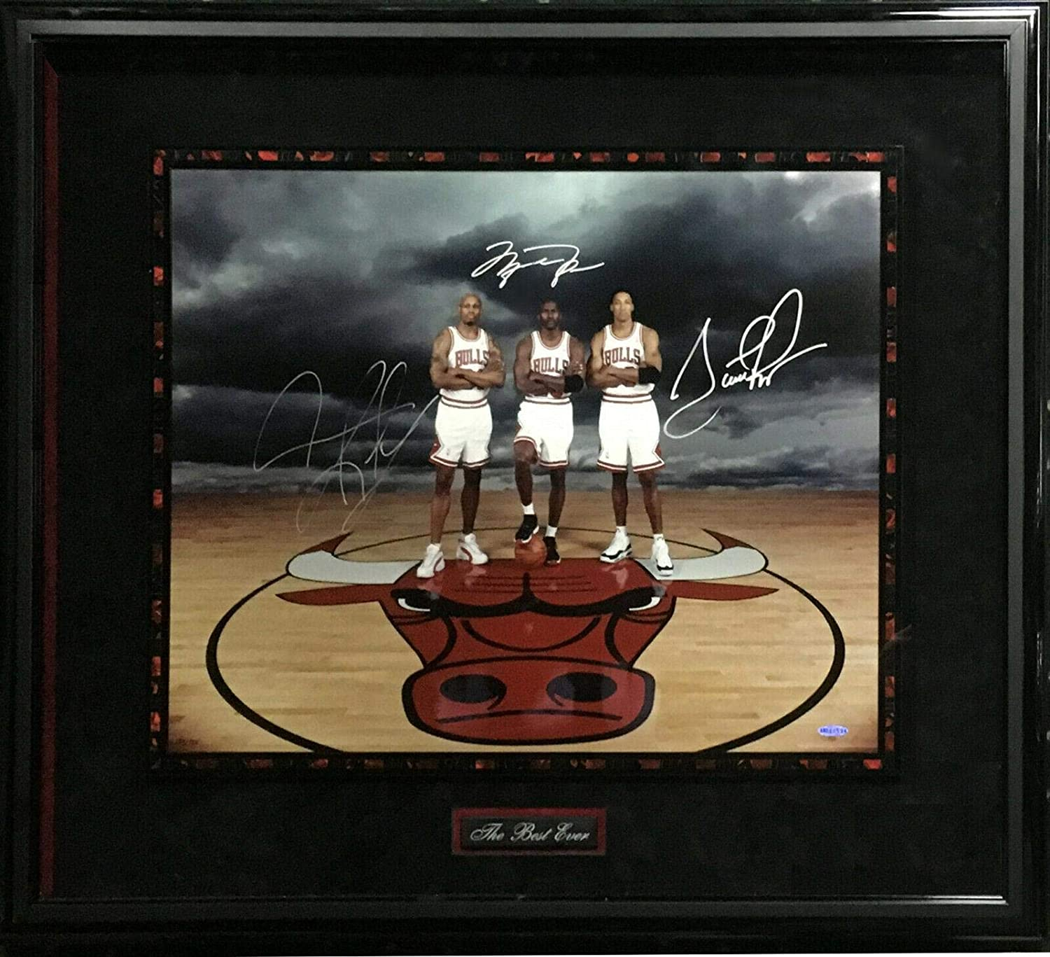 Michael Jordan Scottie Pippen Rodman signed photo framed auto UDA Coa 223/720 - Autographed NBA Photos