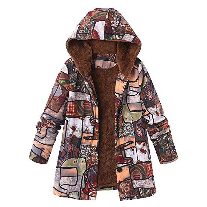 Dacawin Winter Sale-Womens Vintage Floral Print Hooded Pockets Oversize Composite Plush Coats