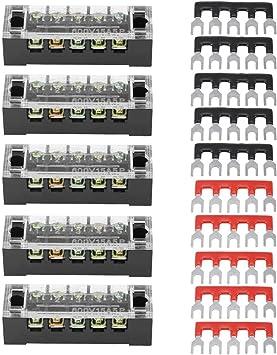 24 vorisolierte terminal barrier strip 5 st/ück Keenso Schraubklemmenleiste mit 5 st/ücke zweireihig 6 positionen 600 v 15a