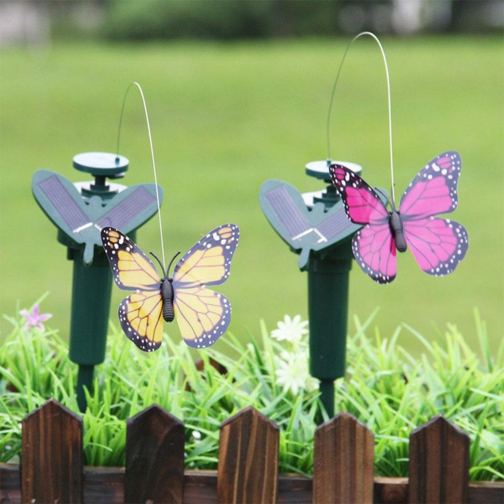 Wall of Dragon Butterflies/Feather Bird Solar-Powered Vibration Dancing Flying Garden Decor-5