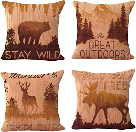 Womhope 4 Pcs Rustic Throw Pillow Covers Square Cushion Pillowcase Decorative Pillow Shams Forest Animal Set Of 4 Pcs Home Kitchen
