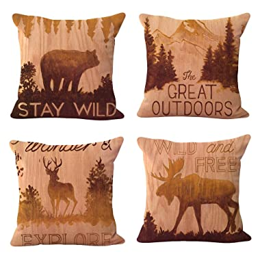 WOMHOPE 4 Pcs Vintage Style Forest Animal Throw Pillow Covers Cases Cotton Linen Burlap Square Decorative Cushion Covers Pillowcase Cushion Case for Sofa,Couch 18 x18 Inches (Forest Animal 4 Pcs)