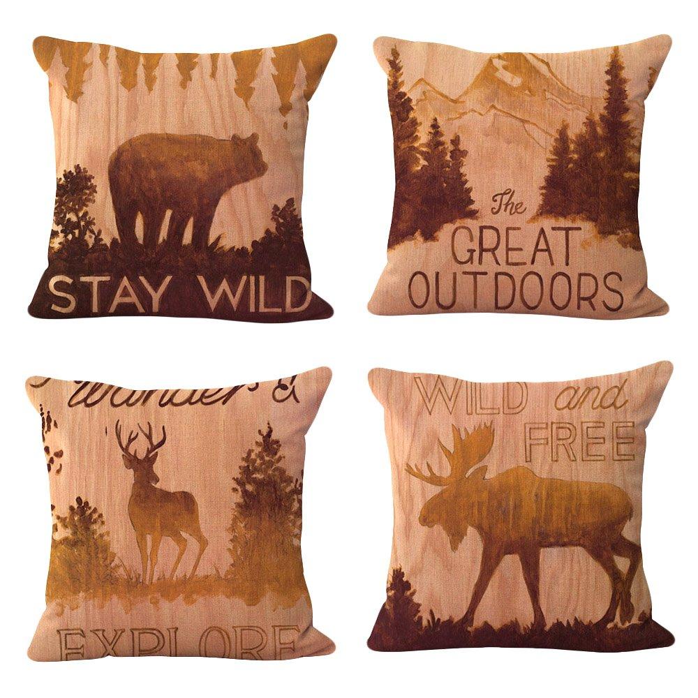 WOMHOPE 4 Pcs - 17'' Vintage Style Forest Animal Cotton Linen Square Throw Pillow Case Decorative Cushion Cover Pillowcase Cushion Case for Sofa,Bed,Chair (Forest Animal 4 Pcs)