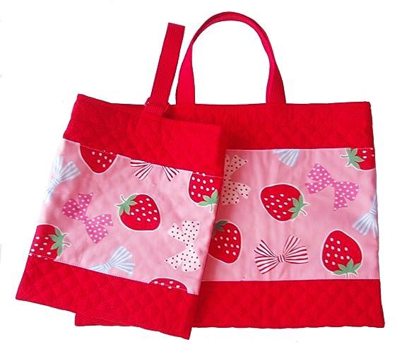 2f7bc59428e5 日本製 手作り レッスンバッグ シューズケース 赤無地 ピンク イチゴ リボン 入園グッズ 入学グッズ