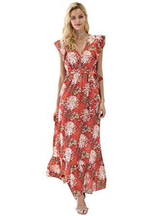82d0128abf62 Simplee Women's Sleeveless Ruffle V Neck Belted Floral Flowy Casual Maxi  Dress, Print, Small