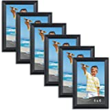 Icona Bay 4 x 6 Inch Picture Frames, (6 Pack) Bulk Set, Black, Wall Mount Hangers and Table Top Easel Included, 5 by 7 Photo Frames Display Horizontally or Vertically, Inspirations Collection