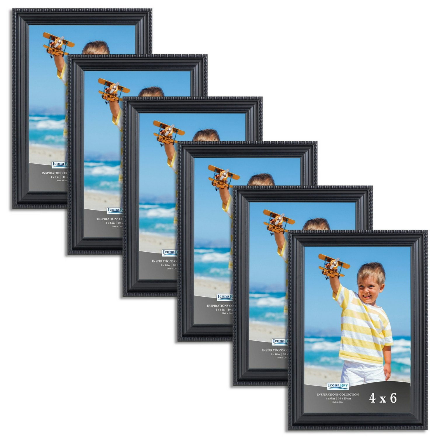 Icona Bay 4x6 Picture Frames, (6 Pack) Black Picture Frame Set, Wall Mount or Table Top, 4 by 6 Photo Frames Display Horizontally or Vertically, Inspirations Collection