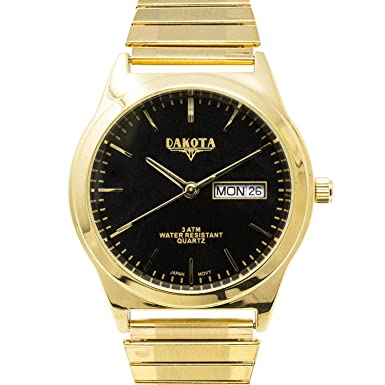 Dakota Easy to Read Unisex 35mm Large Face Day Date Twist Stainless Steel Expansion Stretch Band Water Resistant Watch