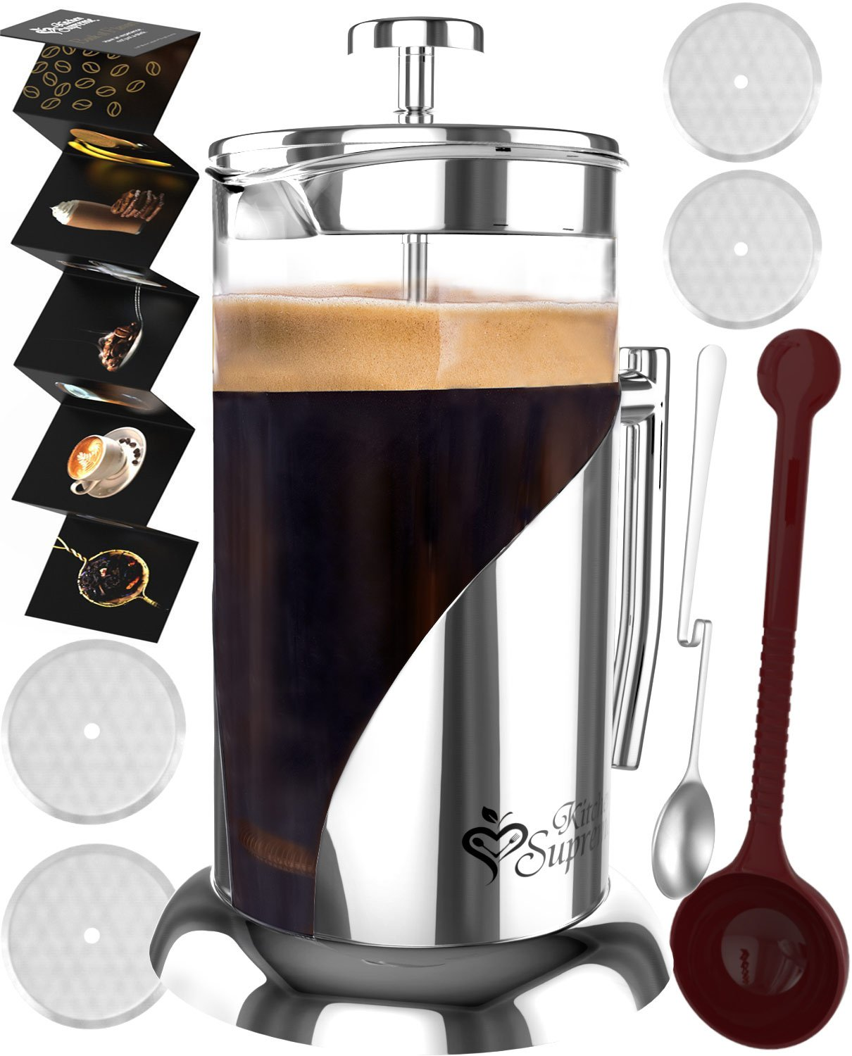 French Press Coffee & Tea Maker Complete Bundle | 34 oz | No Unsafe Plastic Lid Best Coffee Pot with Stainless Steel & Double German Glass