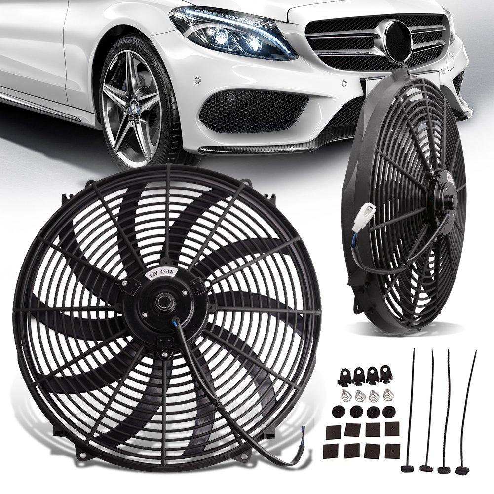 12v High Performance Black Electric Radiator Cooling Fan Assembly Kit Pro-Cool Reversible Heavy Duty S-brade Engine Fan Mounting Set (Diameter 16.73'' Depth 3.26'')