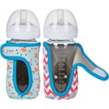 8 oz Miracle Bean Neoprene Baby Bottle Sleeves (Set of 2) – Adjustable Sleeves. Glass Bottles – Improved Heat/Cold Retention – Moisture Wicking, Non-Slip Grip – Fox and Elephant Designs