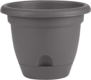 """product image for Bloem LP12908 Lucca Self Watering Planter w/Saucer 12"""", Charcoal Gray"""