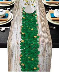 St. Patrick's Day Cotton Linen Table Runner Dresser Scarves,Happy St. Patrick's Day Green Shamrock Retro Wood Grain Table Runners for Dinning Table,Kitchen Decor,Holiday Parties Dinner-13x70 Inch