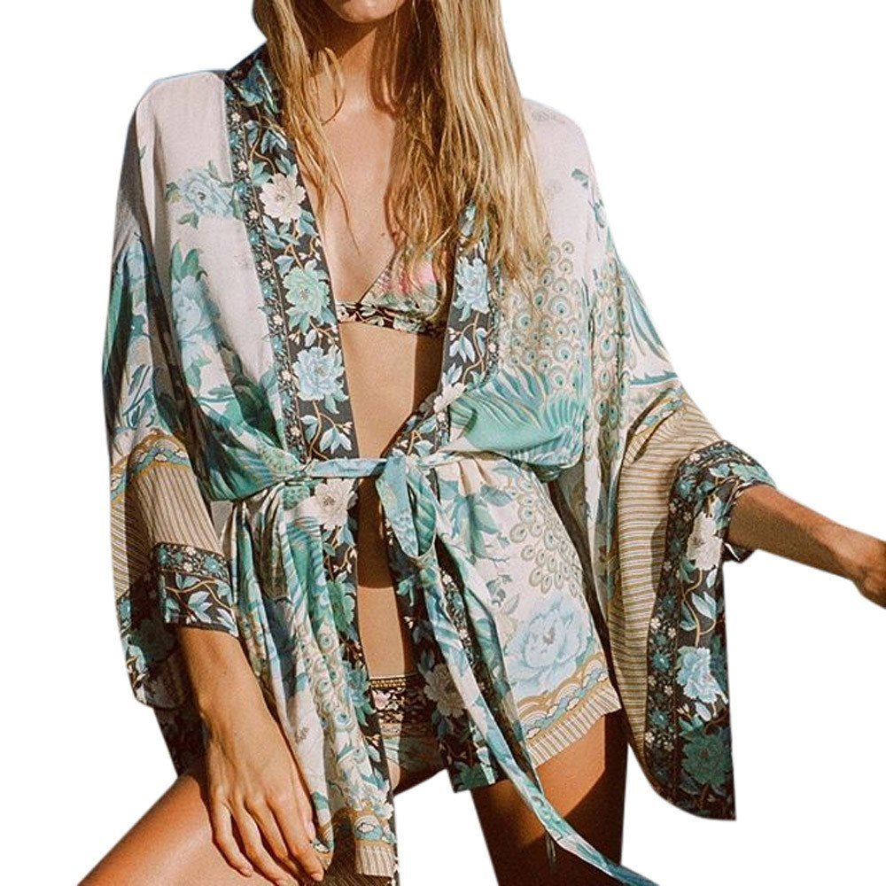 Londony Women's Floral Bohemian Chiffon Japanese Kimono Cardigan Beach Bikini Lace up Cover up Clothing