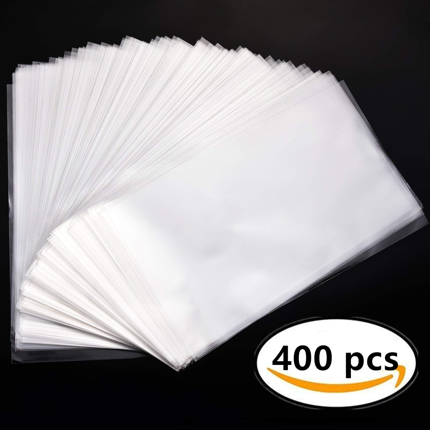 JeVenis 400 PCS 4.3''x 7'' Clear Resealable Cello Bags Tape Strip on Lip Glossy Self Sealing OPP Cellophane Bags Bread Candy Chocolate Jelly Packaging Bags