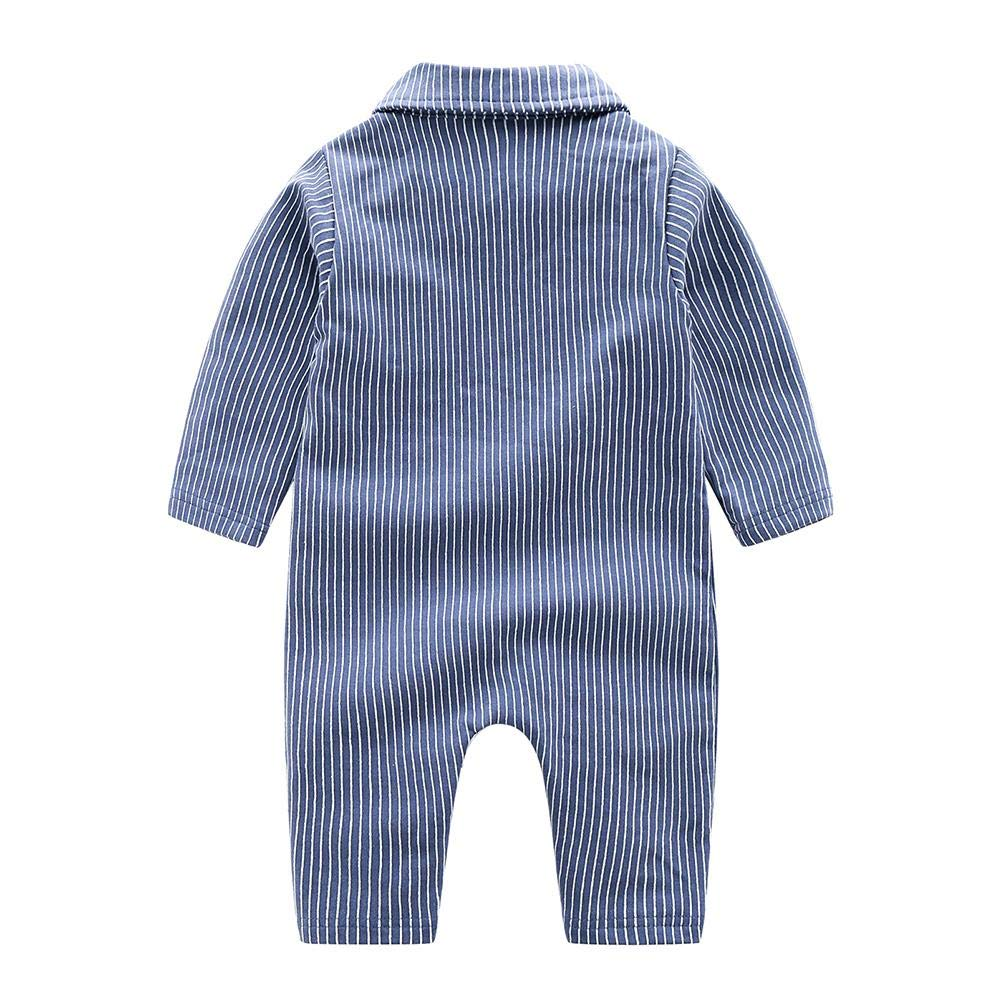 chinatera Baby Boy Gentleman Rompers Tuxedos Formal Outfit Vertical Stripe Bowknot Party Suit