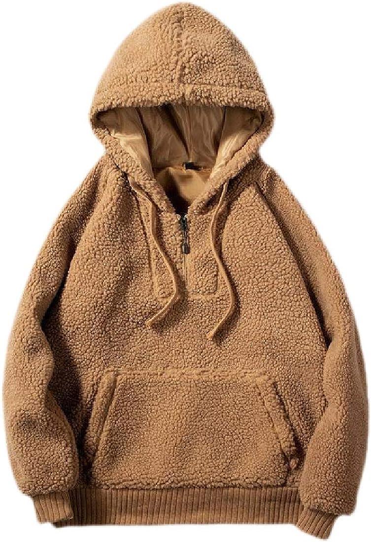 hower Mens Hooded Sherpa Fleece Sweatshirts Fuzzy Hip-hop Pullover Tops