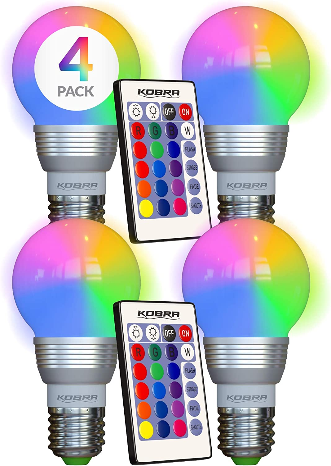 Kobra Led Bulb Color Changing Light Bulb With Remote Control 4 Pack 16 Different Color Choices Smooth Flash Or Strobe Mode Premium Quality Energy Saving Retro Led Lamp Amazon Com