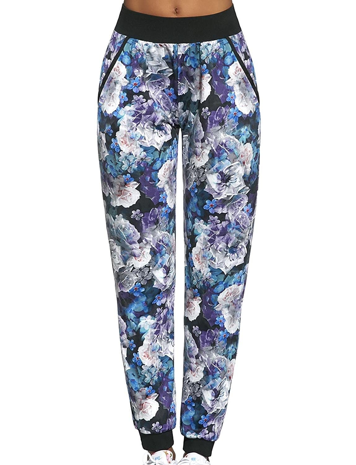 68202f661b3e8 Bas Bleu Chalice Women s Sports Trousers With Floral Pattern Regular Waist  With Pockets - Made In EU  Amazon.co.uk  Clothing