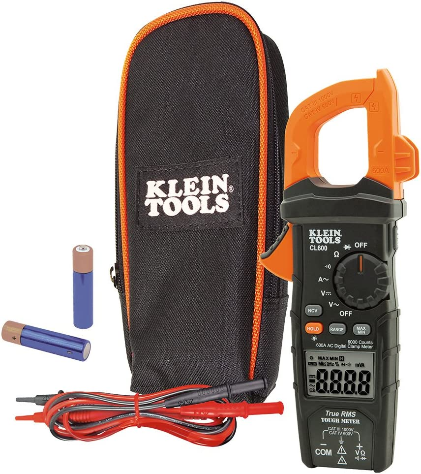 Klein Tools CL600 Electrical Tester, Digital Clamp Meter has Autorange True RMS, Measures AC Current, AC/DC Voltage, Resistance, More