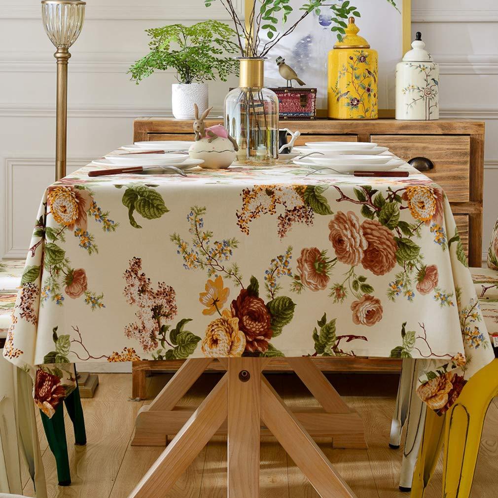 Pahajim Elegante Dise/ño de Estampado Floral Mantel Antimanchas Rectangular Impermeable Inicio Cocina Cena Picnic Mantel Decoraci/ón Cuadrado,140x140cm