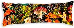 yyone Decorative Body Pillow Cover Night Garden and Fireflies Long Body Pillow Case 20 X 60 Inch