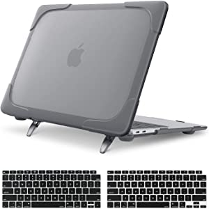 MOSISO MacBook Air 13 inch Case 2020 2019 2018 Release A2179 A1932, Heavy Duty Plastic Hard Shell with Fold Kickstand&Keyboard Cover Only Compatible with MacBook Air 13 inch Retina Display, Grey