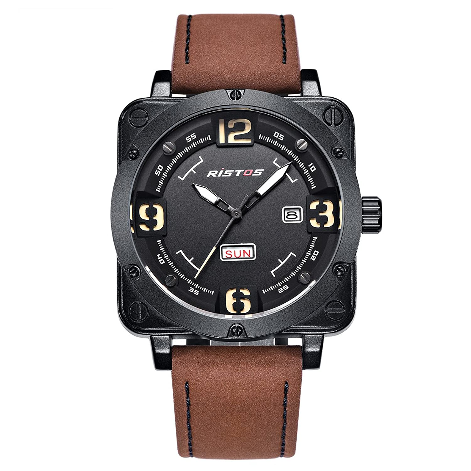 LONGBO Men 's Unique Big FaceアナログクォーツSquare Case Watch BrownレザーバンドビジネスWrist Watches Sportive Luminous防水自動日付日カレンダーArmy Military Watch for Man B071RPXP7J