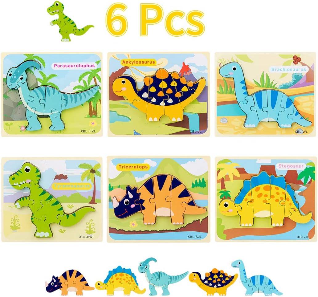 Yeelan 6 Pack Rompecabezas de Madera Dinosaurio 3D Juego de Juguetes Bloques para Niños Juego de Rompecabezas Aprendizaje Temprano Juguetes Educativos para Niñas Bebé