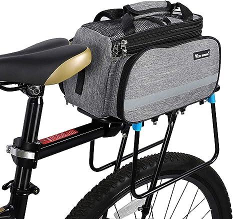Alforjas Bicicleta Trasera Impermeable Bolsa Trasera Bicicleta Bicicleta de Montaña de Accesorios Ciclismo Accesorios Bolsas para Bicicleta Gray,Free Size: Amazon.es: Deportes y aire libre
