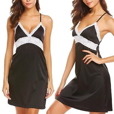 c5229435992 Adidome Women Sexy Lingerie Sleepwear Satin Lace Patchwork Chemise Nightgown  S-XXL (Black