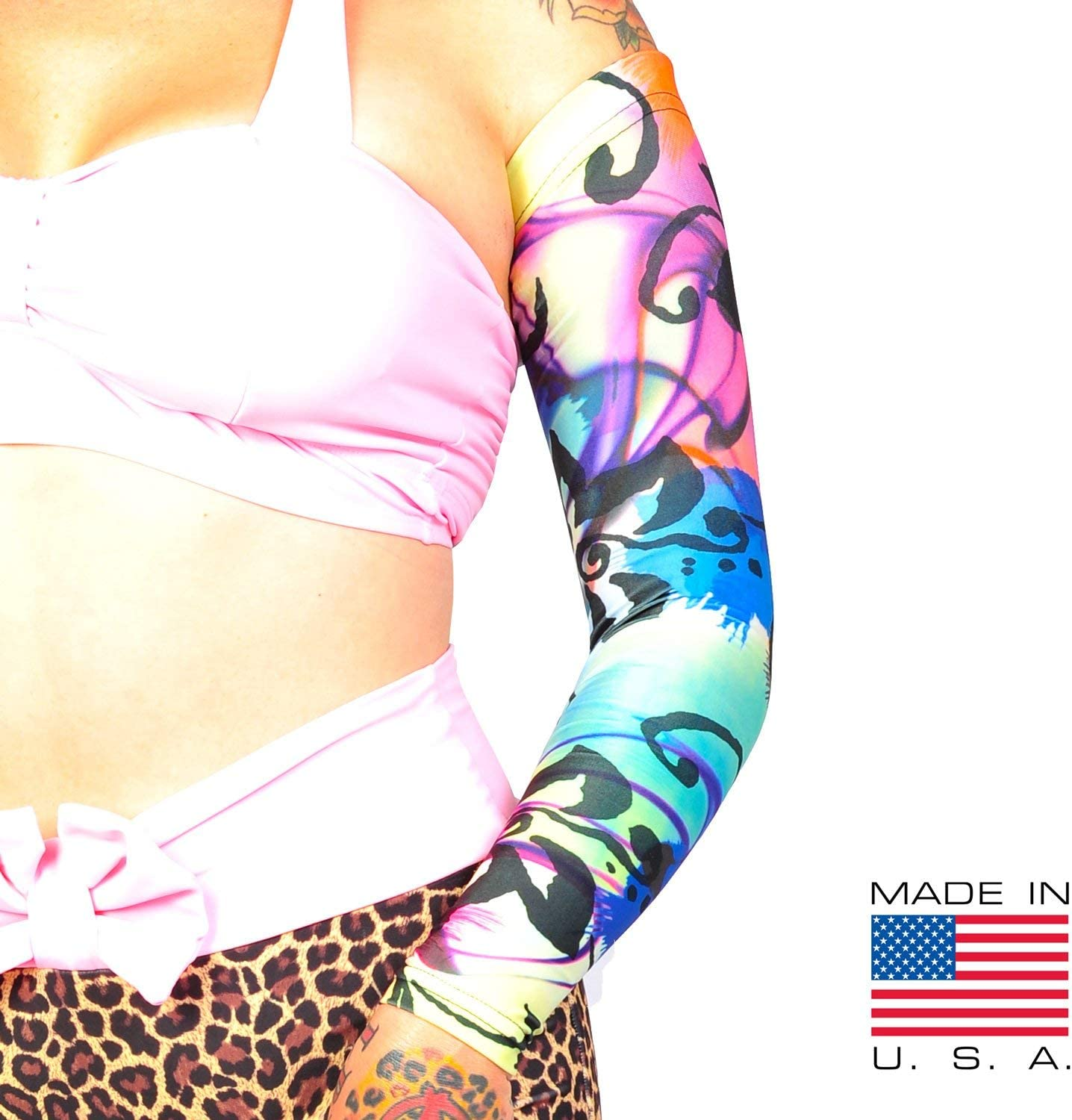 Amazon Com Tat2x Ink Armor Premium Full Arm Tattoo Cover Up Sleeve No Slip Gripper U S Made Island Dark Petite Youth One Sleeve Health Personal Care