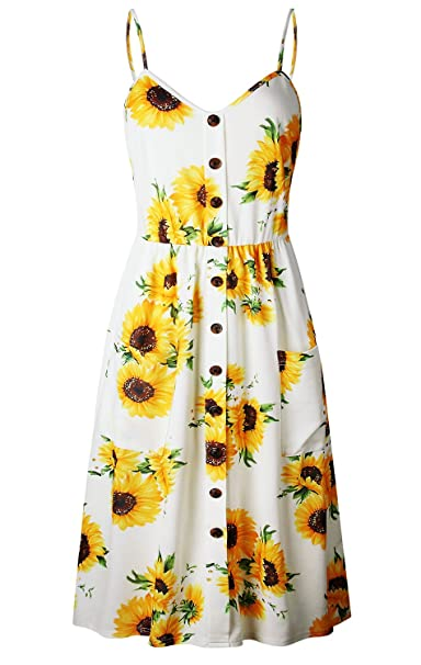 771af2c8adee Elsofer Women s Summer Dresses With Pockets Floral Spaghetti Strap Button  Down Swing Midi Dress (Yellow