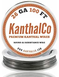 (™) KanthalCo 26 Gauge 100ft Premium AWG A1 Kanthal Wire 100ft Roll 0.40386 mm , 3.21 Ohms/ft Resistance
