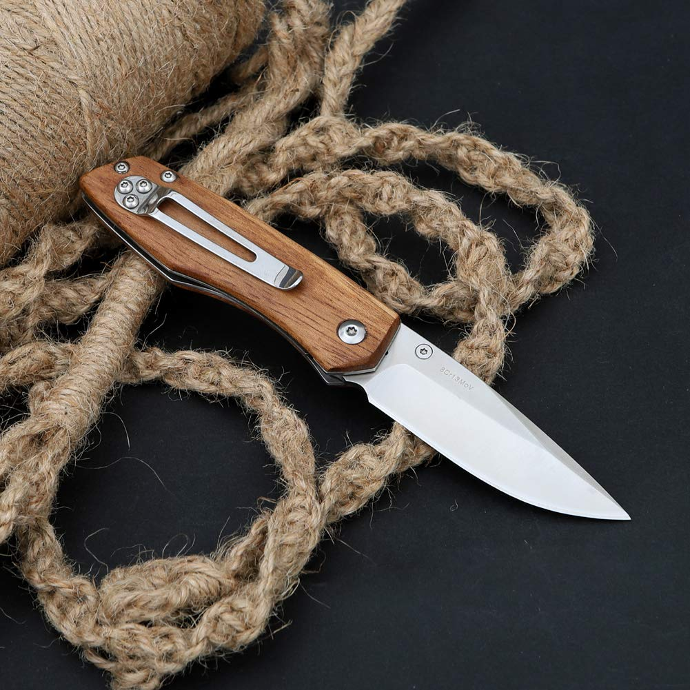 Folding EDC Pocket Knife with 8Cr13MoV Stainless Steel Blade, Zebra Wood  Handle,Belt Clip, Liner Lock Perfect for Outdoor Hunting Camping Fishing Tactical Survival