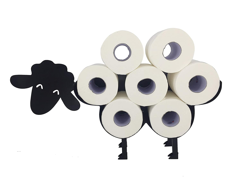 WC Papier Halter f/ür bis zu 7 Klopapier Rollen RS Trade Toilettenpapierhalter stehend Hund schwarz pulverbeschichtet aus massivem Stahlblech Toilettenrollenhalter freistehend oder Wandmontage