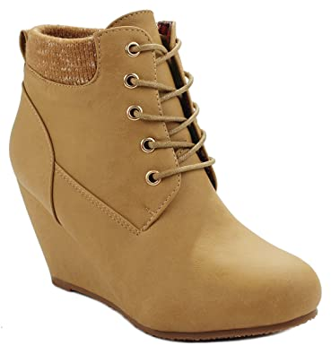Women Sally28 Lace Up Faux Nubuck Knit Sweater Cuff Wedge Ankle Boot Booties