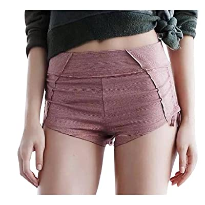 Abetteric Women's Individuality Pure Color Strappy High Waist Hot Shorts