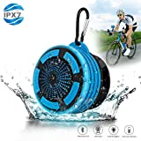 Portable Waterpoof Bluetooth Speaker Shower Radios with Light, Built in FM Radio and Detachable Suction Cup, Wireless Outdoor Speaker for Bathroom, Biking, Bicycle, Hiking, Car, Beach, Pool