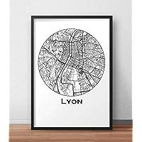Affiche Lyon Minimalist Map - City Map, Poster de Lyon, Plan de ville, Impression d'Art, Création originale handmade